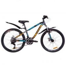 "Велосипед Discovery 24"" FLINT AM DD рама-13"" 2019 черно-синий с оранжевым (OPS-DIS-24-109)"