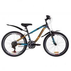 """Велосипед Discovery 24"""" FLINT AM Vbr рама-13"""" 2019 черно-синий с оранжевым (OPS-DIS-24-115)"""